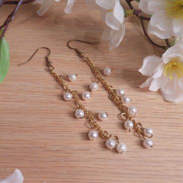 Earrings White Gold Cluster Chain Shepherd Hook