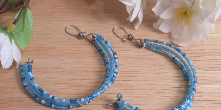 Handcrafted Four Hoops Snow Ice Beaded Blue and Silver Kidney Earrings