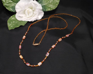 Necklace Amber Gold and Stone Bohemian String