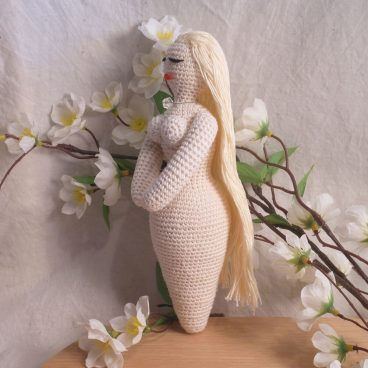 Amigurumi Crocheted White Goddess Doll side