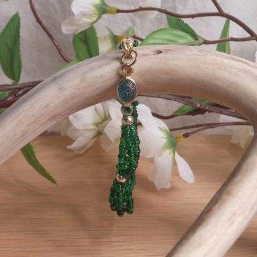 Bracelet Scarab and Three Strand Braided Beads Green hanging