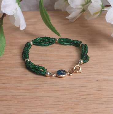 Bracelet Scarab Three Strand Braided Beads Green