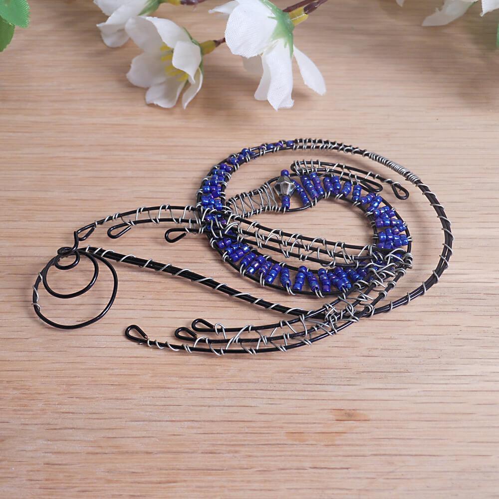Dragon Incense Burner Steel Wire Wrap Beaded Black Blue Silver 3