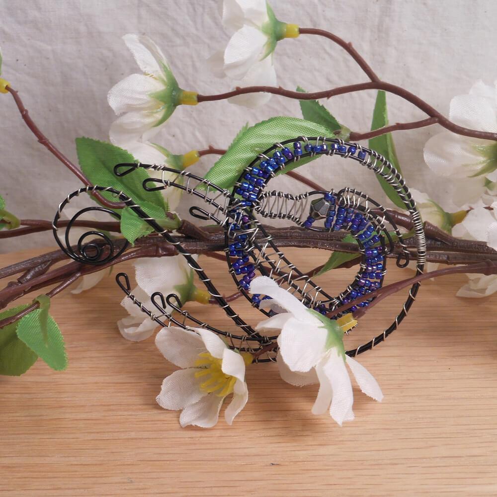 Dragon Incense Burner Steel Wire Wrap Beaded Black Blue Silver