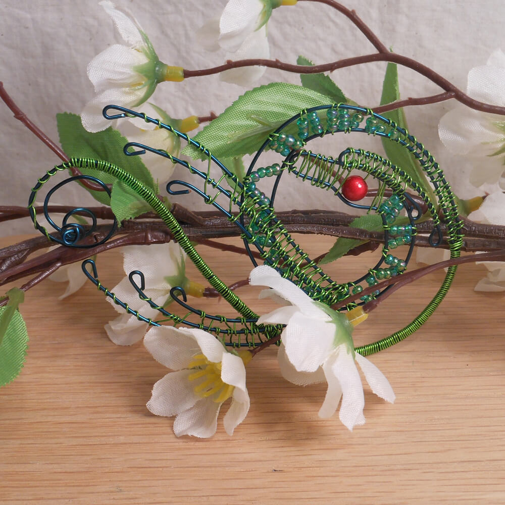 Dragon Incense Holder Steel Wire Wrap Beaded Green Creature 2