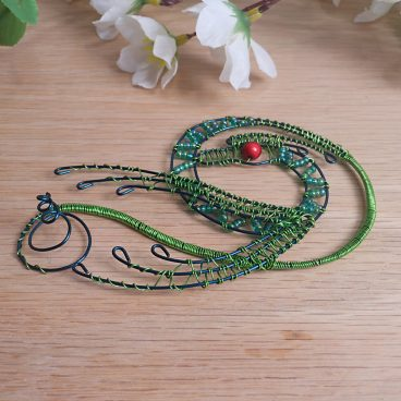Dragon Incense Holder Steel Wire Wrap Beaded Green Creature