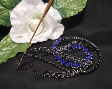Dragon Incense Burner Steel Wire Wrap Beaded Black Blue and Silver