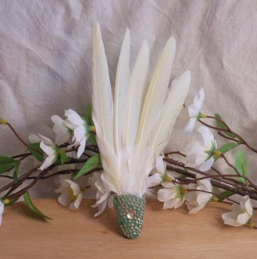 Natural Feather Smudge Fan Smudging Wing Cleansing Ritual Magic Tool Green