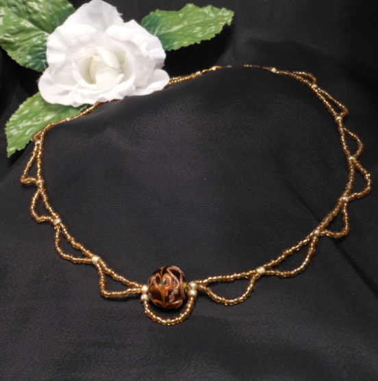Necklace Gold and Brown Glass Bohemian String BoHo