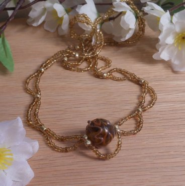Necklace Gold Brown Glass Bohemian String BoHo
