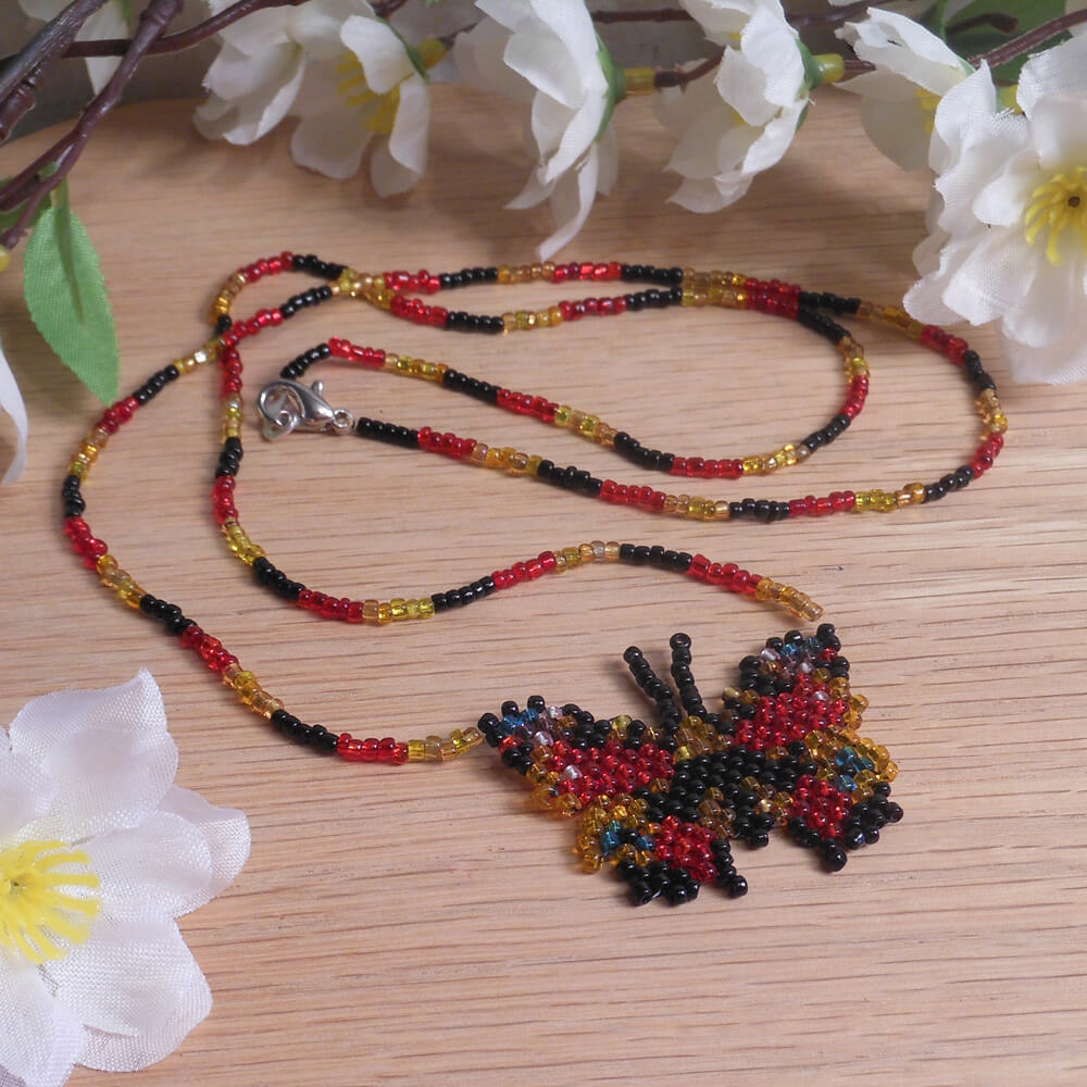 Necklace Peyote Stitch Butterfly Red Black Gold Strung Bead