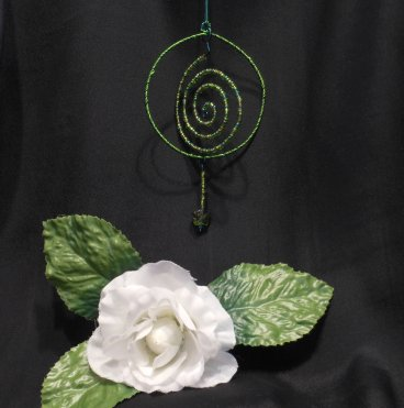 Ornament Goddess Spiral Wire Wrap Beaded Green