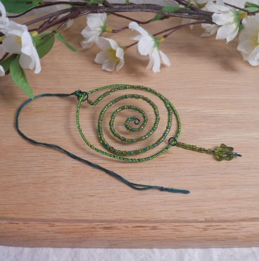 Ornament Goddess Spiral Wire Wrapped Beaded Green