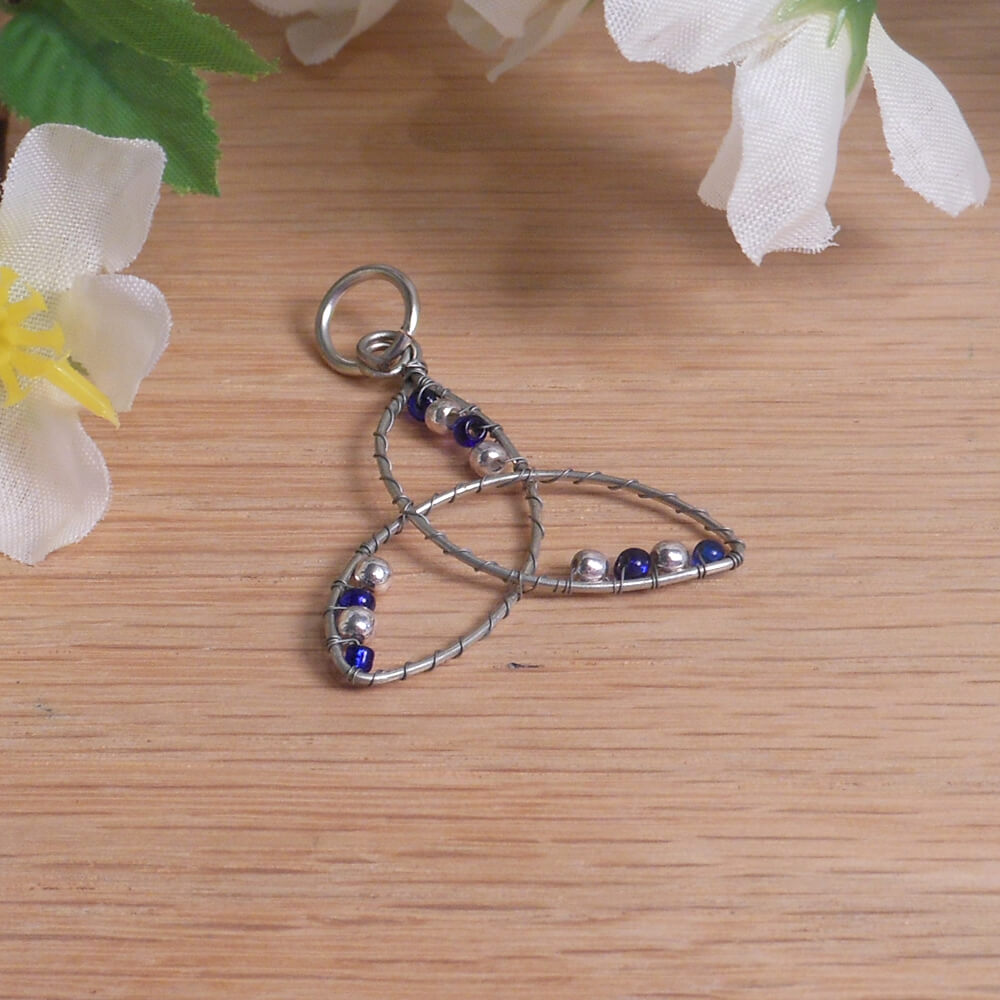 Blue and Silver Beaded Wire Wrap Triquetra Pendant 2
