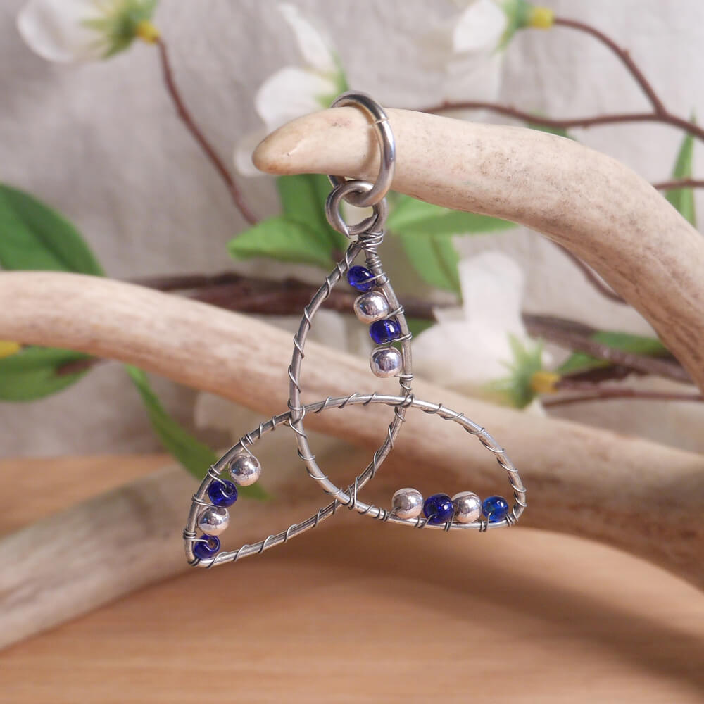 Blue and Silver Beaded Wire Wrap Triquetra Pendant
