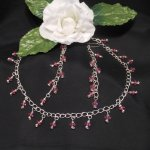 Pink Faceted Dangles Sterling Silver Necklace and Earrings Set