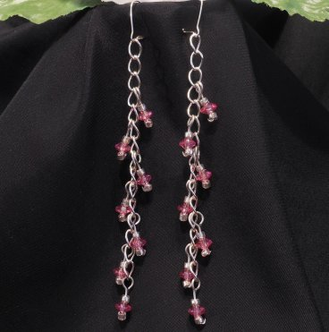 Pink Faceted Dangles Sterling Silver Necklace and Earrings Set 2