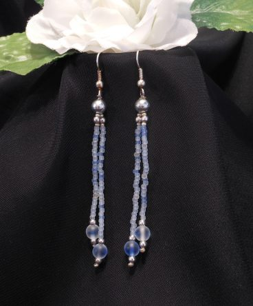 Blue Frosted Triple Strand Bracelet and Dangle Earrings Set 2