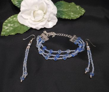 Blue Frosted Triple Strand Bracelet and Dangle Earrings Set 3