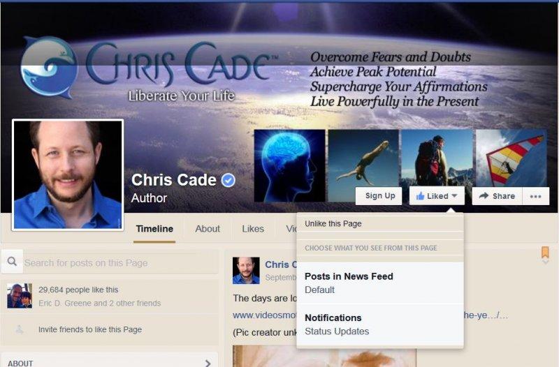 Facebook fan page Chris Cade