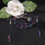 Iridescent Triple Strand Bracelet and Dangle Earrings Set 3