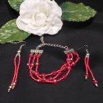 Red Triple Strand Bracelet and Dangle Earrings Set 2