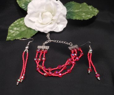 Red Triple Strand Bracelet and Dangle Earrings Set 2