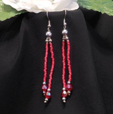 Red Triple Strand Bracelet and Dangle Earrings Set 3