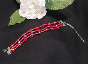 Red Triple Strand Bracelet and Dangle Earrings Set