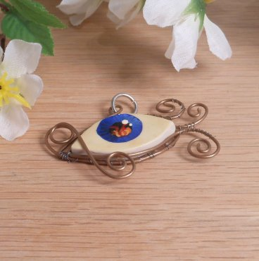 Copper Wire Wrap Flaming Eye Clay Pendant 2