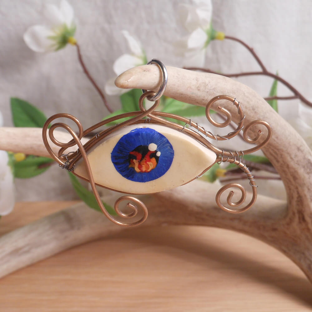Copper Wire Wrap Flaming Eye Clay Pendant
