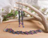 Iridescent Triple Strand Bracelet Dangle Earrings Set