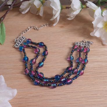 Iridescent Triple Strand Bracelet Dangle Earrings Set 2
