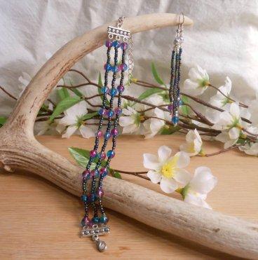 Iridescent Triple Strand Bracelet Dangle Earrings Set 3