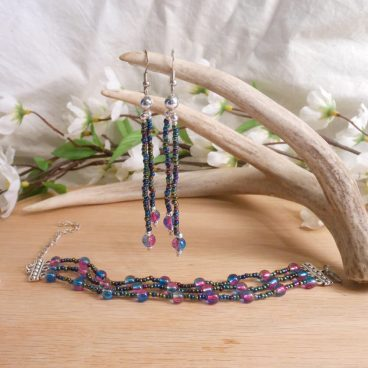 Iridescent Triple Strand Bracelet Dangle Earrings Set