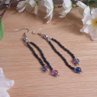 Iridescent Triple Strand Bracelet Dangle Earrings Set 4