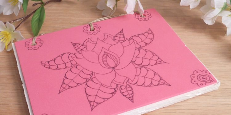 Pink Lotus Hand Bound Journal BOS 2