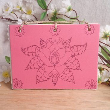 Pink Lotus Hand Bound Journal BOS