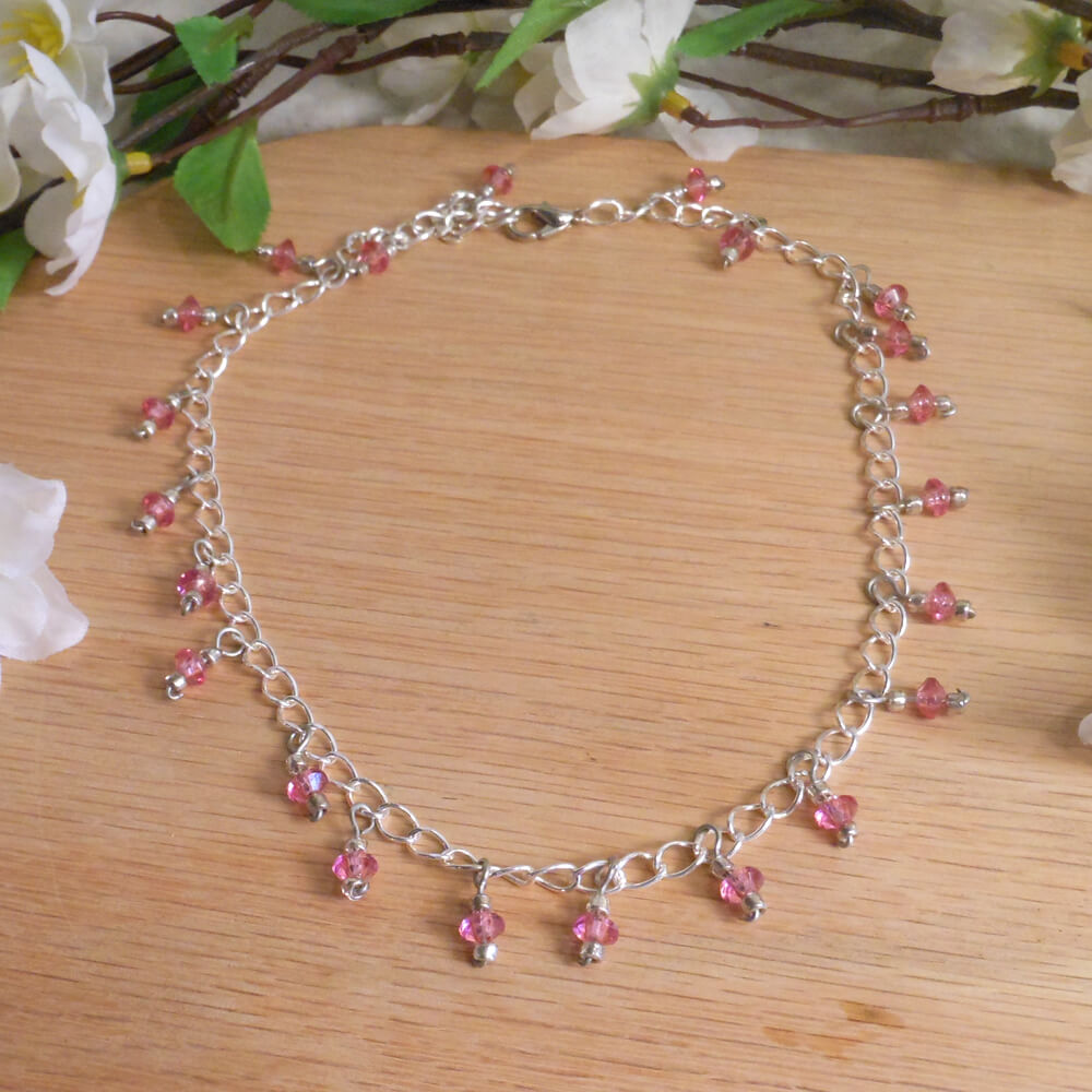 Pink Faceted Dangles Sterling Silver Necklace Earrings Set 2