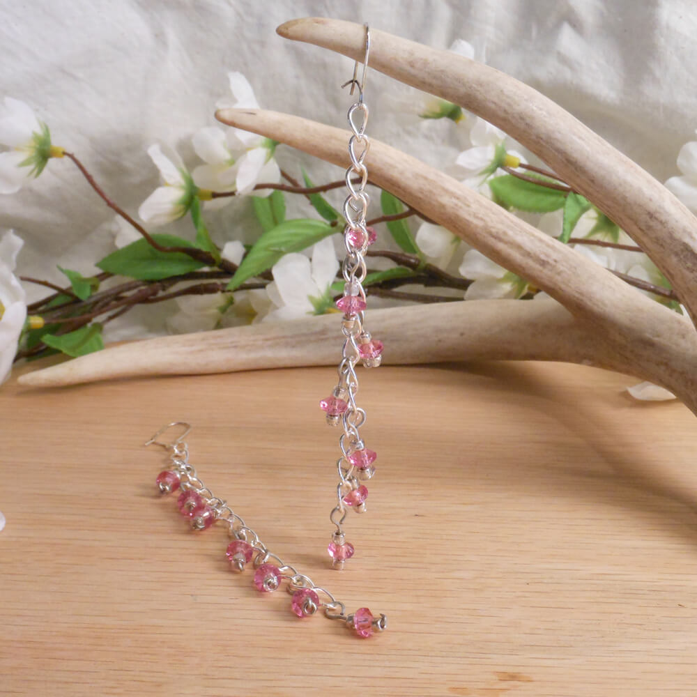 Pink Faceted Dangles Sterling Silver Necklace Earrings Set 3