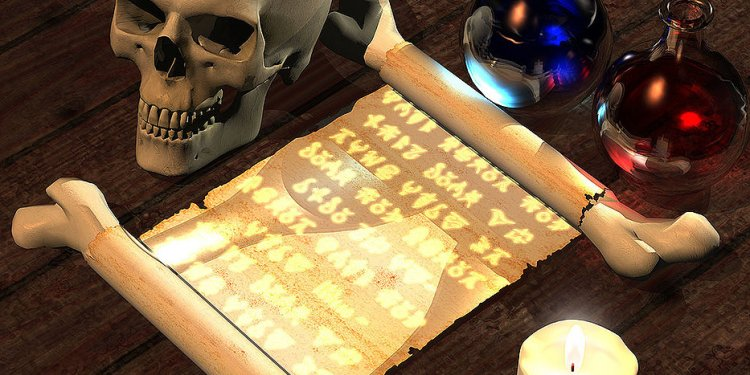 Spell Scroll Skull Pagan Wiccan Magic