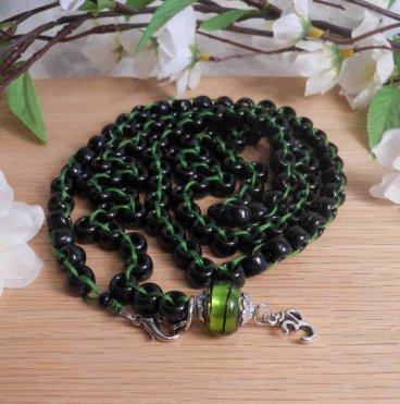 Black and Green Japa Mala Prayer Beads