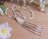 White and Silver Unicorn Tail Tassel Necklace