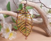 Yellow and Copper Wire Wrap Leaf Pendant