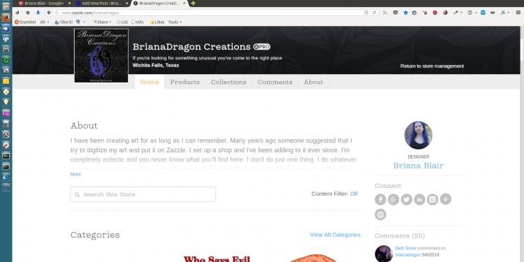 BrianaDragon Creations Zazzle POD Shop screenshot