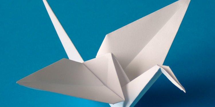 Origami paper crane bird