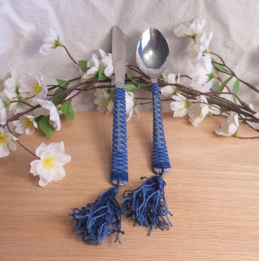 Blue Hand Wrapped Boline Herb Spoon Set ritual pagan wiccan knife