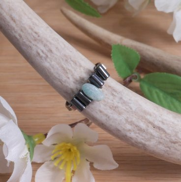 Jade and Hematite Health Ring