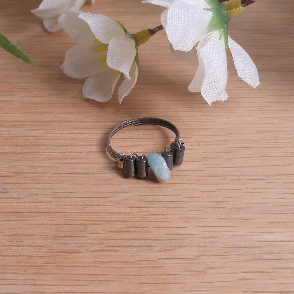 Jade and Hematite Health Ring flat