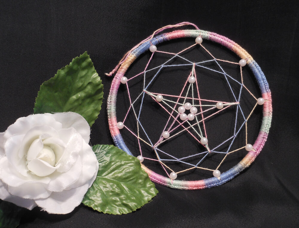 Multicolored Beaded Pentacle Dream Catcher